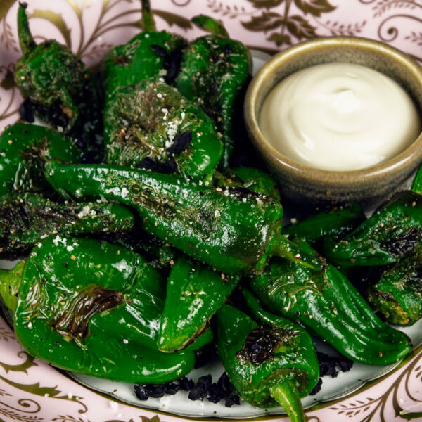Padron Peppers with Mushroom & Garlic Salt Flakes