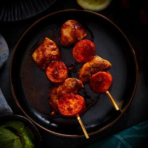 Chargrilled Pork & Chorizo Anticuchos with Garlic & Ginger Glaze (2 Skewers)