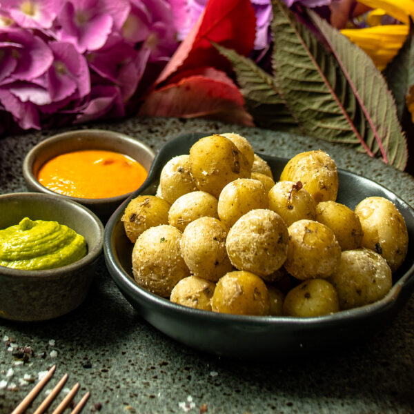 Salt Baked Canarian Style Potatoes with Spicy Red Mojo Sauce