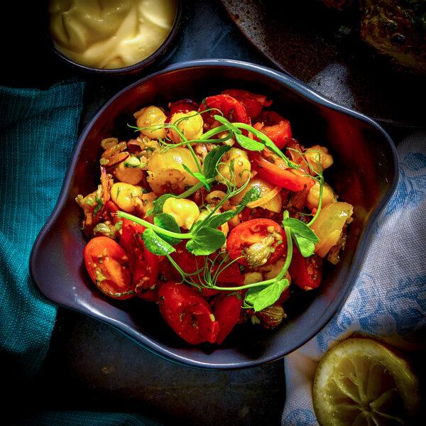 Murcian Tomato, Chickpea, Piquillo Pepper & Caper Salad
