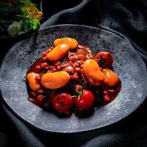 Tapas Fusion Featherbladee steak, chorizo, giant butter beans