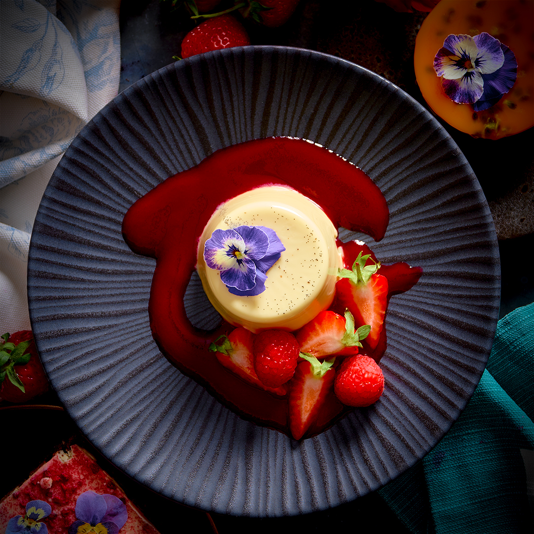 Spiced Rum Panna Cotta with Summer Berries