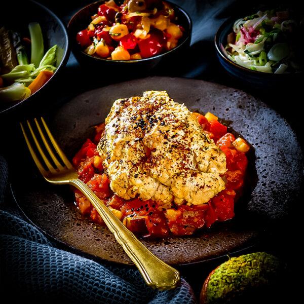 Oven-baked Cauliflower, Pisto, Toasted Seeds